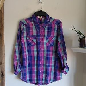 Lei lively color plaid button down shirt L